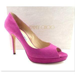 JIMMY CHOO Fuchsia Suede Open Toe Heel Pumps 39
